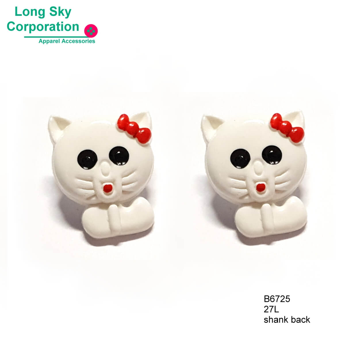 (B6725) 27L Novelty decorative cat button for crafts