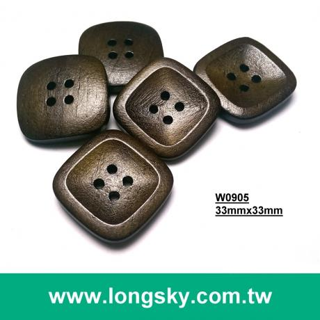 (#W0905) 33mm*33mm large decorative square shape wooden button
