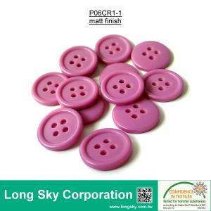 (#P06CR1-1) 24L deep pink matt finish 4 holes polyester clothes button