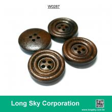 (#W0287) 4 hole fancy dark color costom wood made garment button