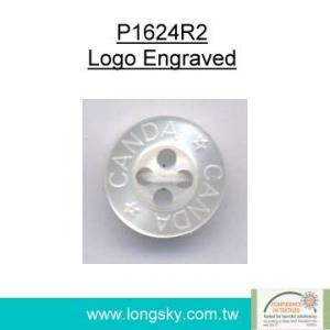 (P1624R2) C&A logo engraved imitation shell polyester resin shirt button