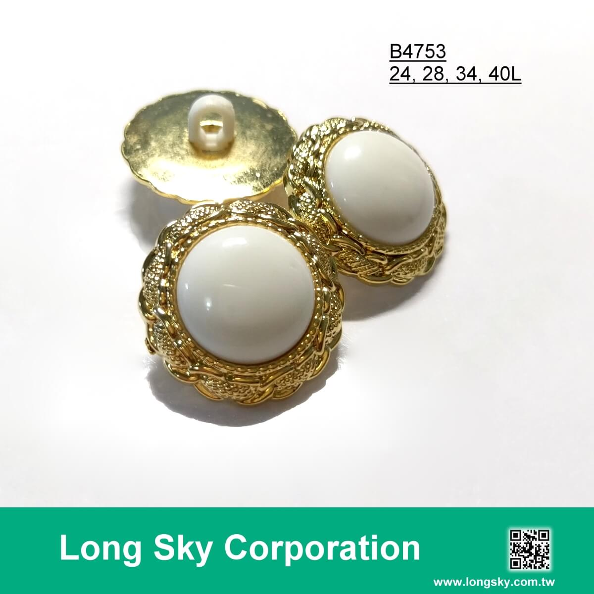 (#B4753/24L,28L,34L,40L) 2-piece combined gold with white center garment button