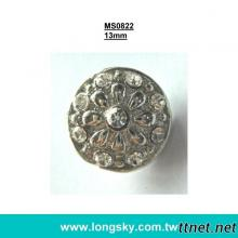 (#MS0822/13mm) Metal jewelry rhinestone small button for lady garments
