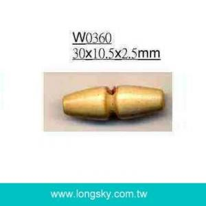 (#W0360) 30mm one hole bullet shaped wood coat toggle buttons