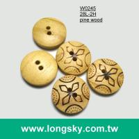 (#W0245) Engraved natural wooden shirt buttons bulk