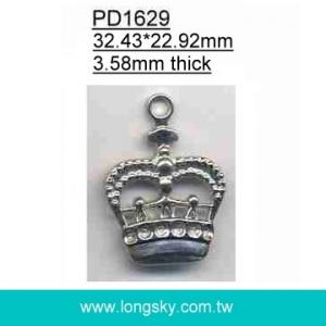 Alloyed crown pendants and charms for garments for zipper (#PD1629)