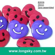 (#B2639/30mm) cute big smiling heart carton coat buttons for kids wear