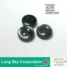 (P1003R2) Grey Round Imitation Shell Polyester Resin Shirt Button