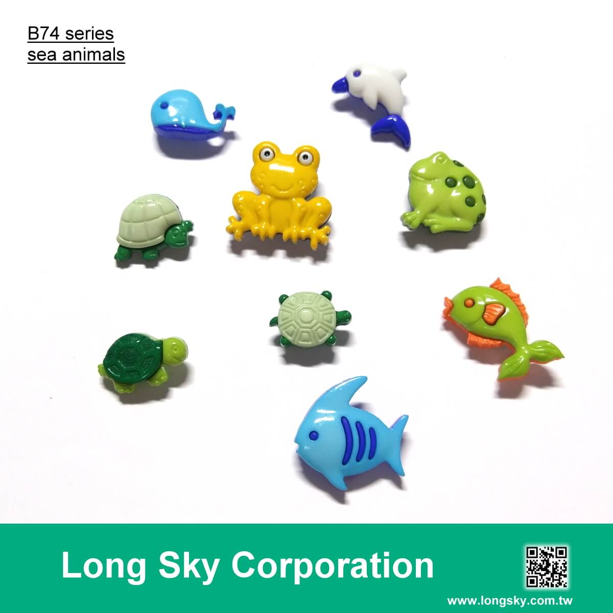 (B74-4-3) Sea animals shape craft buttons with frog, tod, tortoise, turtle, fish, dophin, whale design