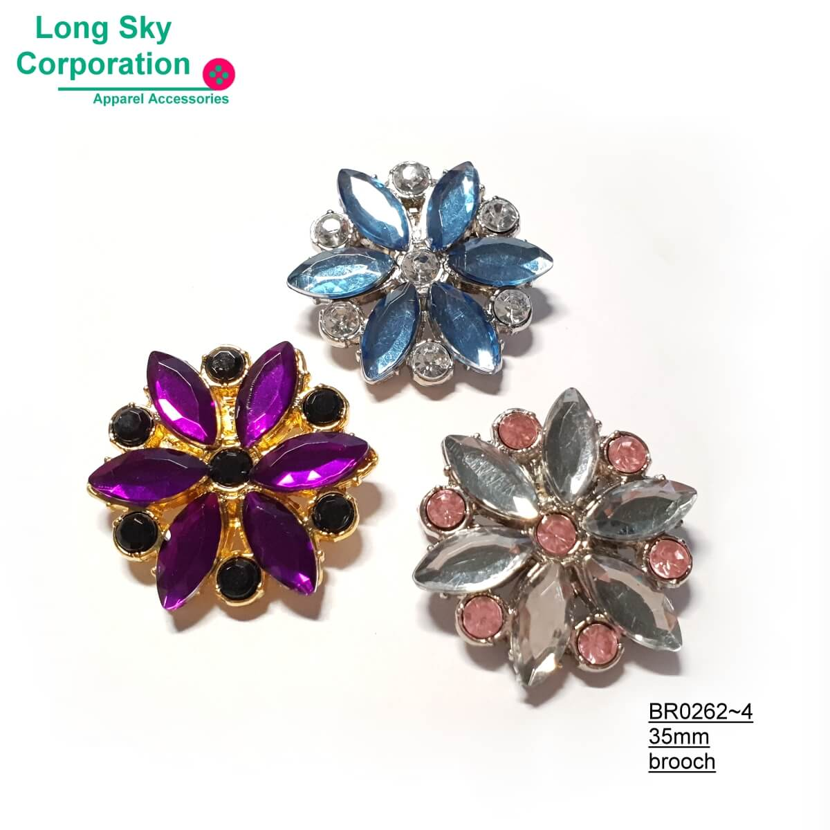 (BR0262~64) beauty stone decorated flower brooch for women suit