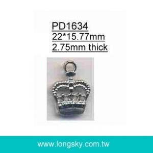 Crown charm pendant for zipper or garments (#PD1634)