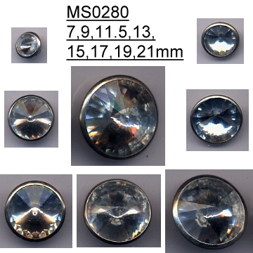 (#MS0280) Beauty brass lady apparel button with crystal rivoli stones