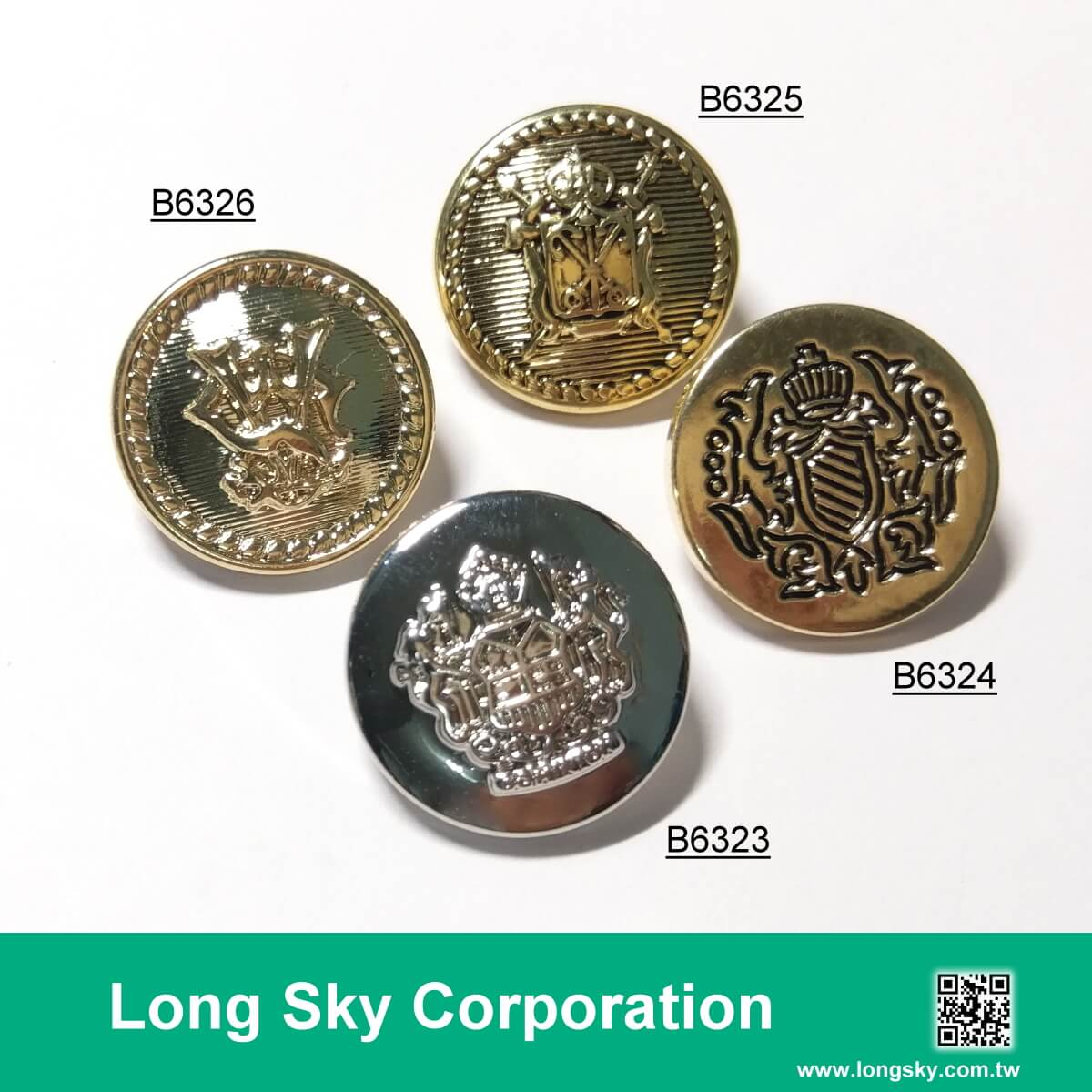 (#B6323~26) royal style pattern shank button in gold color, silver color