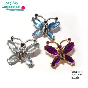 (BR0241~3) Colorful stone decorated butterfly brooch