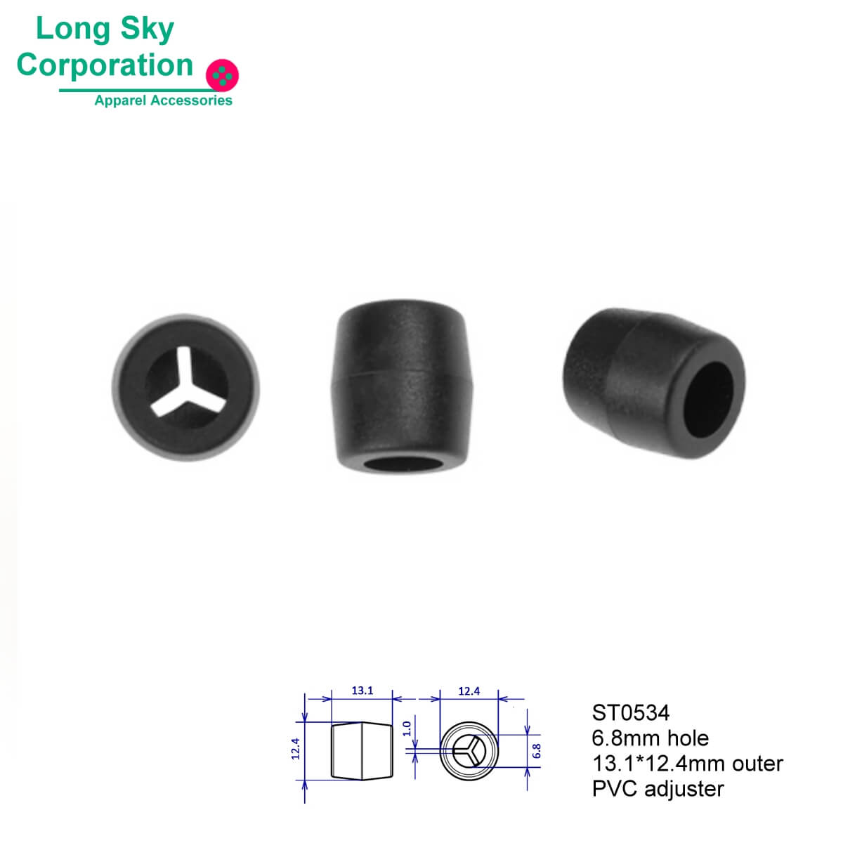 (#ST0534) 6.8mm hole big black TPR plastic face cover cord adjuster cord ends