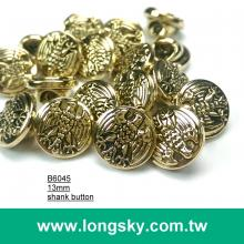 (#B6045/13mm) Taiwan produced eagle pattern small shank buttons for young shirts