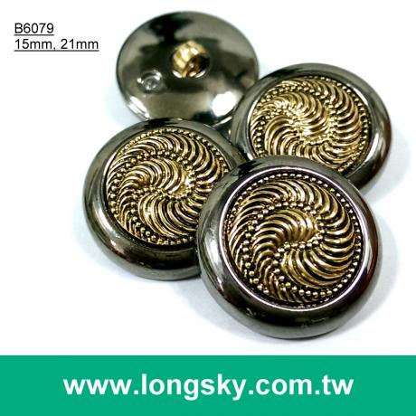(#B6079/15mm, 21mm) 2-piece fashion plated plastic button for lady winter suit