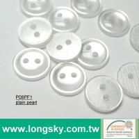 (P08PF1) Two Holes Round Plain Pearl Polyester Button for blouses