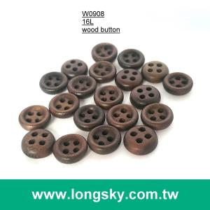 (#W0908) 16L 4 holes coffee colored natural wood shirt button