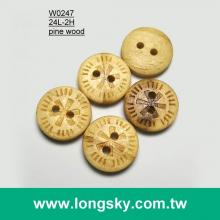 (#W0247) Customized pattern carved natural wood button for blouse