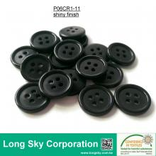(#P06CR1-11) 15mm black color 4 holes classical design polyester resin garment button
