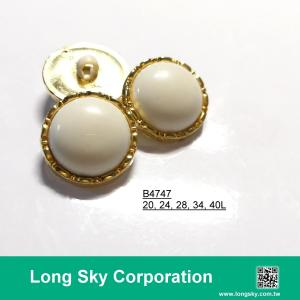 (#B4747/20L,24L,28L,34L,40L) 2-piece combined white center with gold rim classical suit button