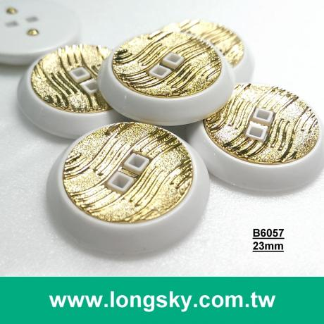 (#B6057/36L) two holes garment plastic button with white rim