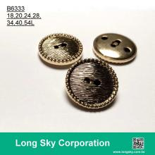 (B6333/18L,20L,24L,28L,34L,40L,54L) 2 hole antique gold plating abs lady shirt button and suit button