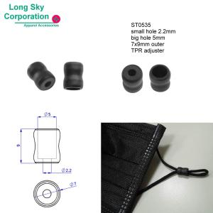 (#ST0535) 2.2mm hole soft TPR plastic mask cover cord adjuster