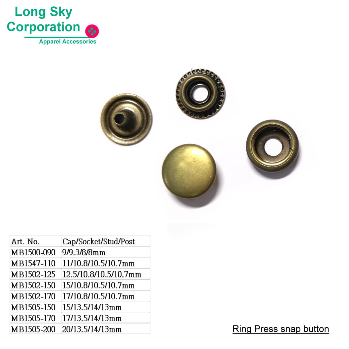 (MB15) Coated top brass press snap buttons for leather garments