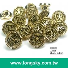 (#B6036/13mm) blazer gold shank button with decorative pattern