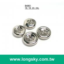 (#B4861) 16L 18L 20L 24L 4 hole small size silver plated shirt button