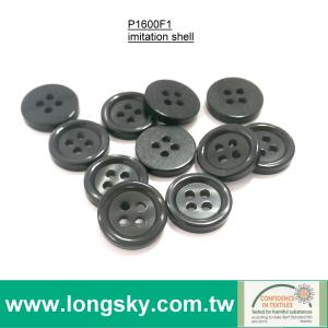 (P1600F1) 26L 16.5mm Imitation shell shiny 4 hole black button for knit wear