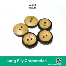 (#W0283) 2 hole dark brown edge wood clothing button