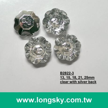 (#B2822-3) 2 hole crystal with silver back plastic acrylic button