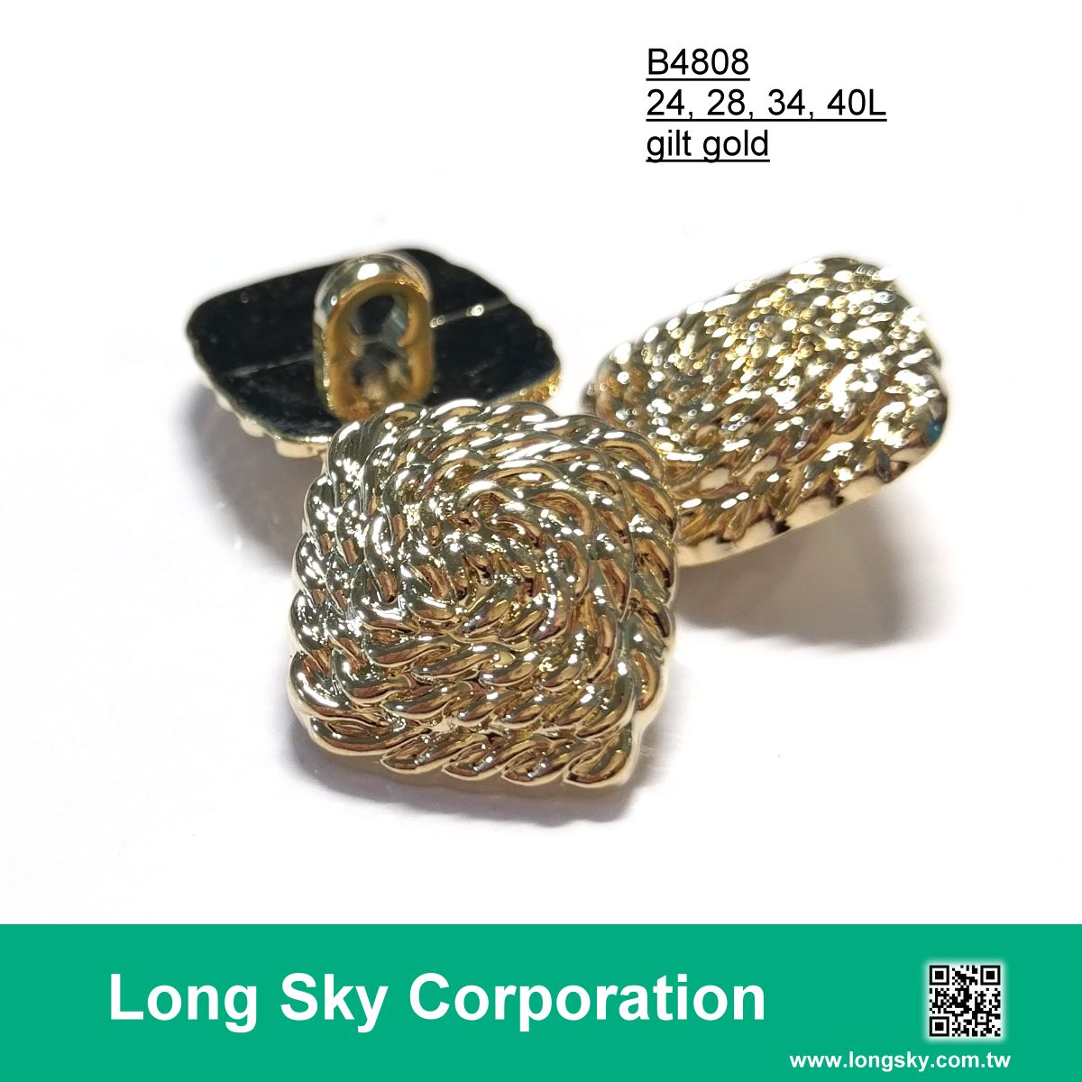 (#B4808) gold plated shank button for lady garments