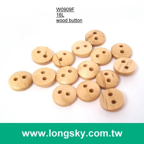 (#W0909F) 16L 2 holes classical flat back natural wood button for craft