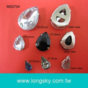(#MS0704) Tear or Water drop shape acrylic stone button for garments