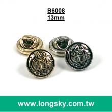 (#B6008/13mm) high quality antique gold plated military style shank button
