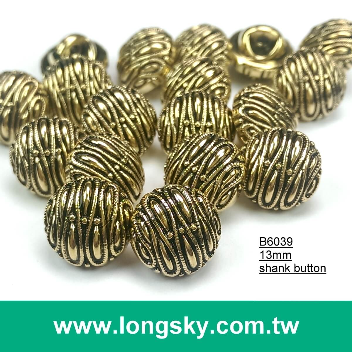 (#B6039/13mm) round shape shank back small gold buttons with totem