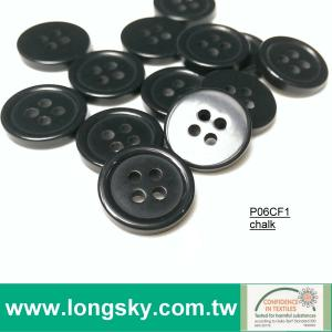 (#P06CF1) 24L 4 hole black chalk polyester resin uniform button