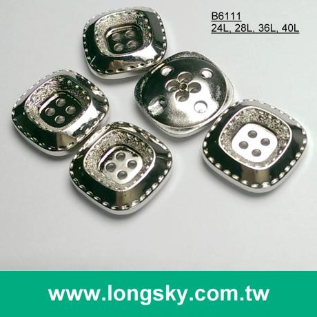 (#B6111/24L, 28L, 36L, 40L) nickel free silver 4 hole square shape button