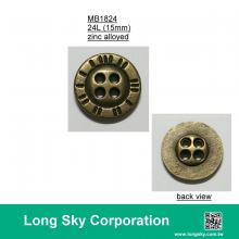 (MB1824/24L) 15mm 4-holes antique brass colour metal button for casual pants