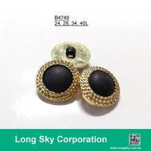(#B4749/24L,28L,34L,40L) 2-piece combined gold button with nylon black center