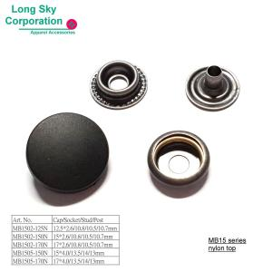 (MB15) Nylon Top Metal Press Snap Buttons for garments