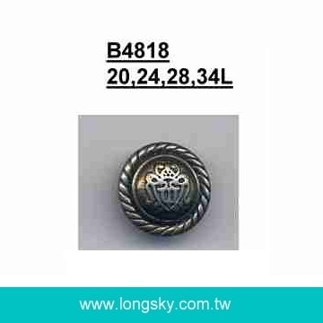 (#B4818) shank type antique silver plated plastic button
