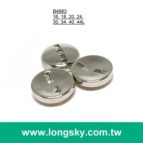 (#B4883) 16L 18L square sewing hole round classic shiny silver suit button