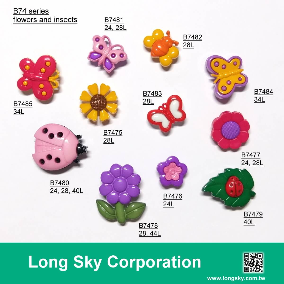(B74-4-1) Cute kids buttons in butterfly, lady bug, bee, insect and flower shapes