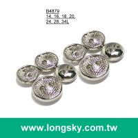 (#B4879) 8mm, 10mm, 11.5mm 2 hole designer shiny silver lady sweater button