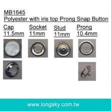 (MB1645/11.5mm) fashion clothing prong snap button with white polyester iris top